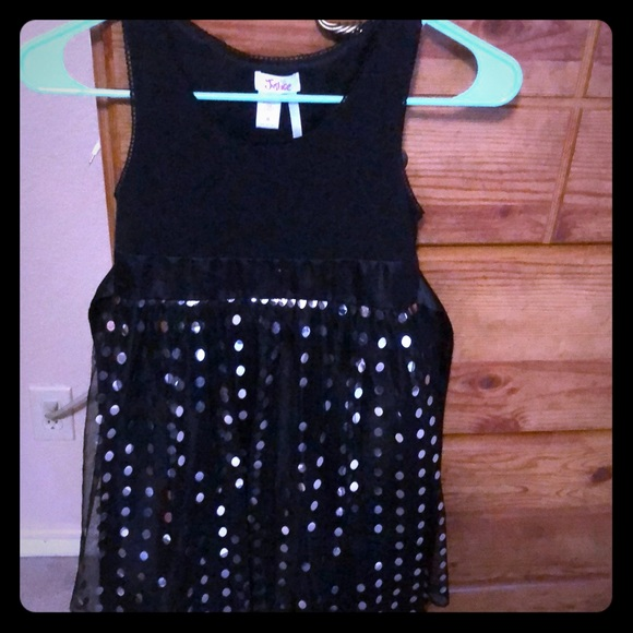 Justice Other - Justice black dress with silver dots